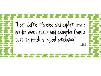 """""""I can"""" Statements- 4th Grade Reading Common Core -Green Dots"""