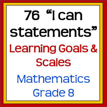 """8th Grade MATH CCSS """"I can statements"""" (Editable PowerPoint)"""
