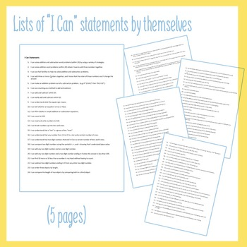 """""""I can"""" Statements for Common Core - Grade 1"""