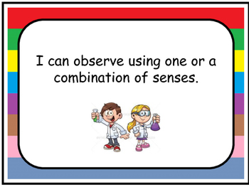 I can Statements for Kindergarten Science