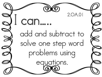 I can Statements for Second grade- easy to read!