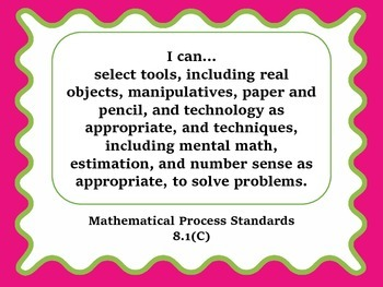 """""""I can"""" TEKS Statement Posters - 8th Grade Math"""