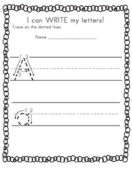 I can WRITE my letters! Kindergarten Alphabet Practice Packet