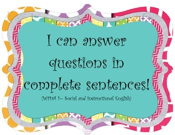 I can answer questions- ESOL poster