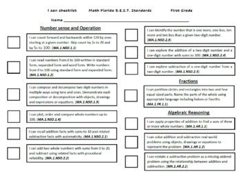 I can checklist Florida common core Standards 1st Grade