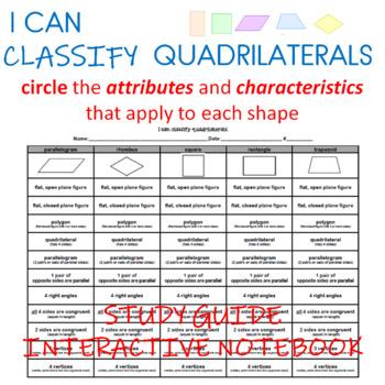 I can classify quadrilaterals.