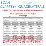 QUADRILATERALS:  I can classify quadrilaterals.