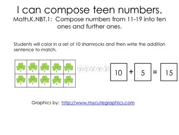 I can compose teen numbers 11-19
