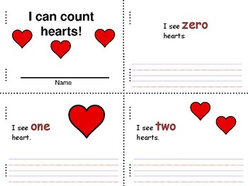 I can count hearts mini book, writing 0-10 Spanish and English!