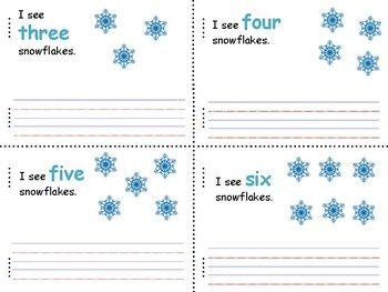 I can count snowflakes mini book, writing 0-10 Spanish and English!