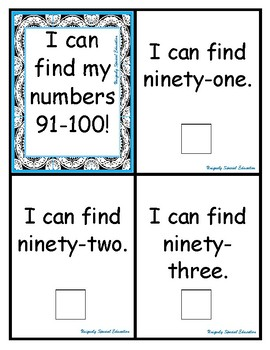 I can find my numbers 91-100