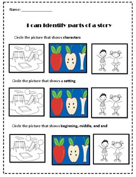 I can identify parts of a story worksheet by Taelyn carter ...