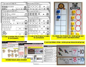 I can make 10! Zoo theme math center, worksheets & interactive powerpoint
