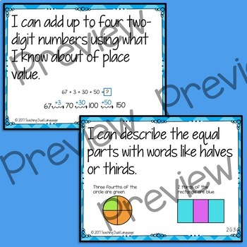 "Second grade Math ""I can"" posters - ENGLISH"