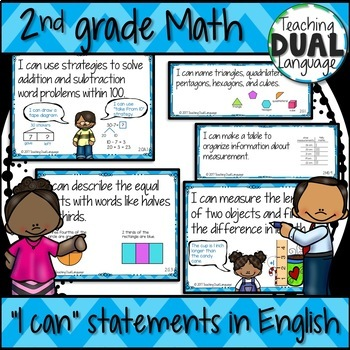"""Second grade Math """"I can"""" posters - ENGLISH"""