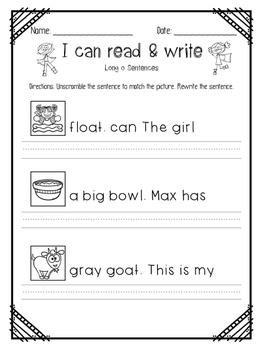 I can read Vowel Team Sentence