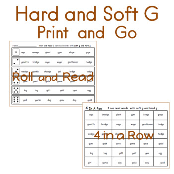 I can read words with soft g and hard g  Speed Drills 2 Games