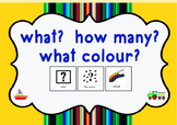 What? How many? what colour? Interactive Workbook (preschool/Autism)