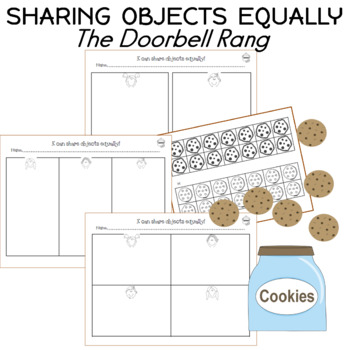 sharing objects equally worksheets the doorbell rang tpt. Black Bedroom Furniture Sets. Home Design Ideas