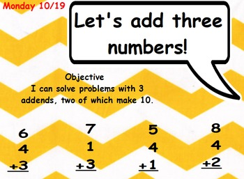 I can solve problems with 3 addends, two of which make 10