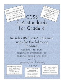 I can statement signs - Grade 4 ELA
