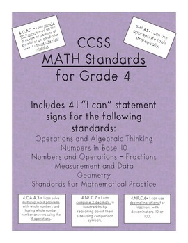 I can statement signs - Grade 4 Math