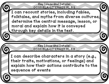 I can statements 3rd grade Reading common core gray and white chevron