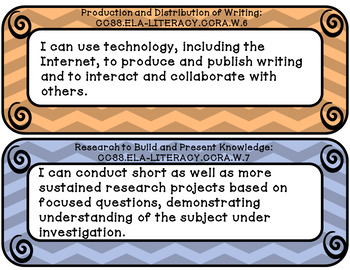 I can statements 3rd grade Writing common core