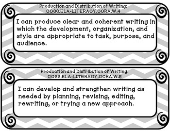 I can statements 3rd grade Writing common core gray and white chevron