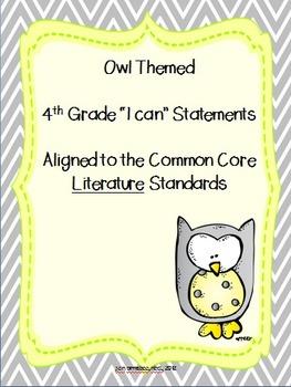 I can statements-- 4th grade ELA CCSS {OWL themed} BUNDLE