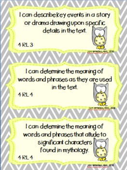 I can statements-- 4th grade Literature common core standards OWL themed