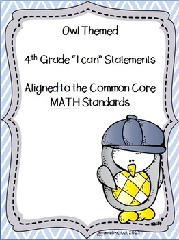 I can statements-- 4th grade Math CCSS {OWL themed}