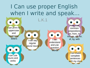 I can statements Common Core Kindergarten- Owl Theme