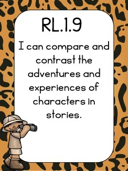 I can statements Common Core/Learning Objectives 1st grade Safari Theme