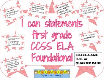 I can statements: Foundational CCSS- 1st grade