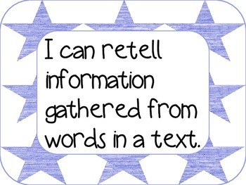 I can statements: Informational CCSS--1st grade