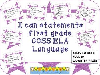 I can statements: Language--1st grade