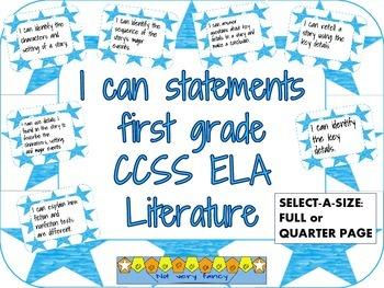 I can statements: Literature CCSS--1st grade