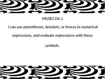 I can statements for 5th grade math Georgia Standards of E