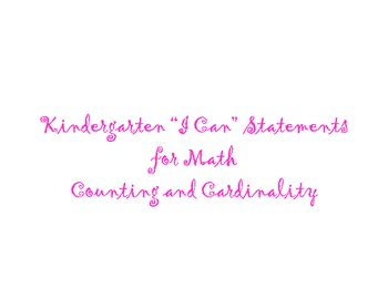 I can statements for Math Common Core Statements