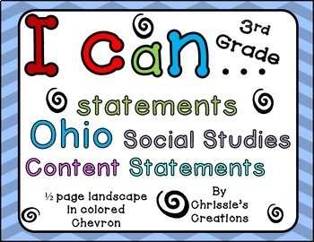 I can statements for Ohio third grade social studies colored chevron