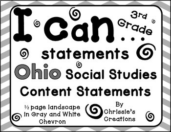 I can statements for Ohio third grade social studies in gray and white chevron