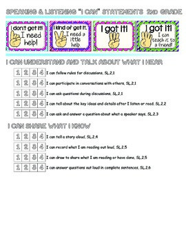 I can statements for common core with scale