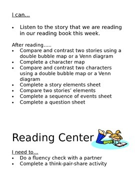 I can statements for literacy centers
