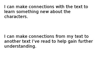 I can statements for reading strategies