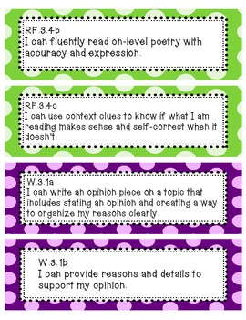 """""""I can"""" statements for THIRD grade CCSS ELA and Math"""