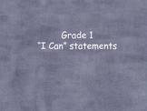 "Common Core ""I can"" statements grade 1 ELA"