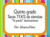 """""""I can"""" statements in Spanish for 5th grade Science TEKS"""
