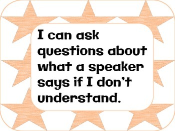 I can statements: speaking and listening 1st grade CCSS
