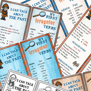 """FLASH SALE - I can talk about the past + My first IRREGULAR verbs """"Detective"""""""